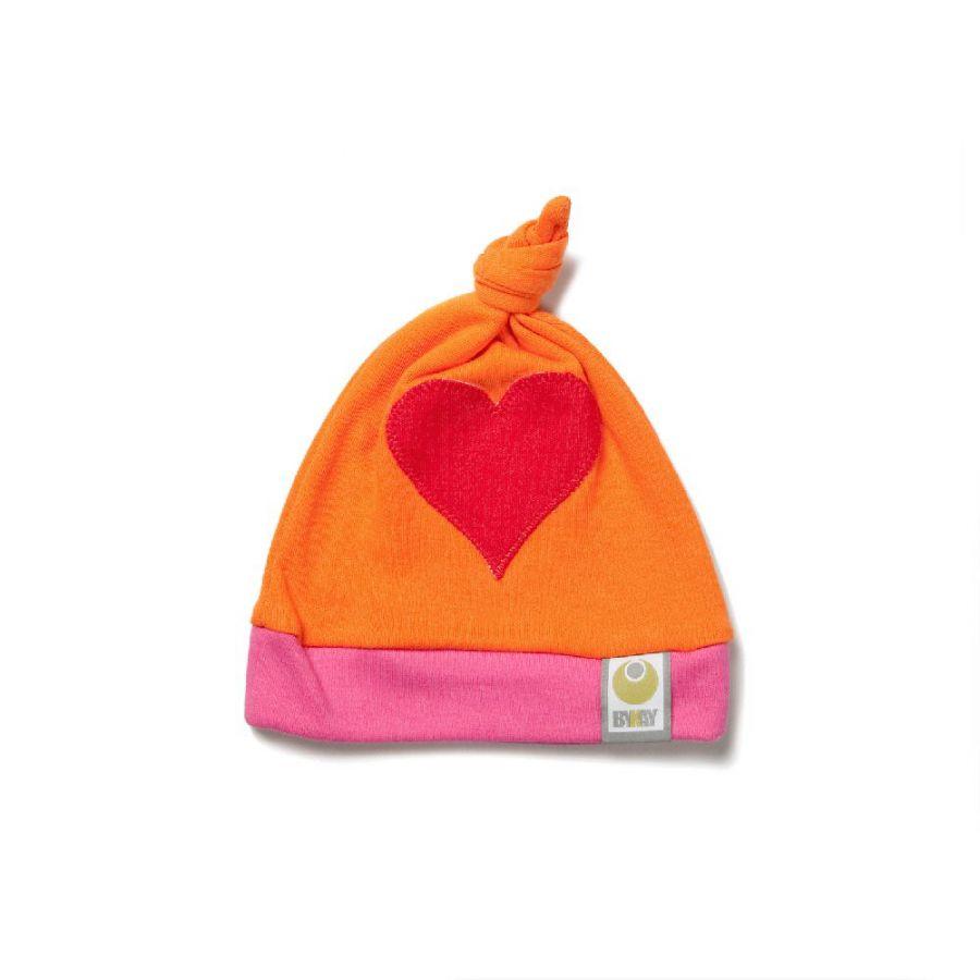 Čepička ByKay Design, Oranž + červené srdce