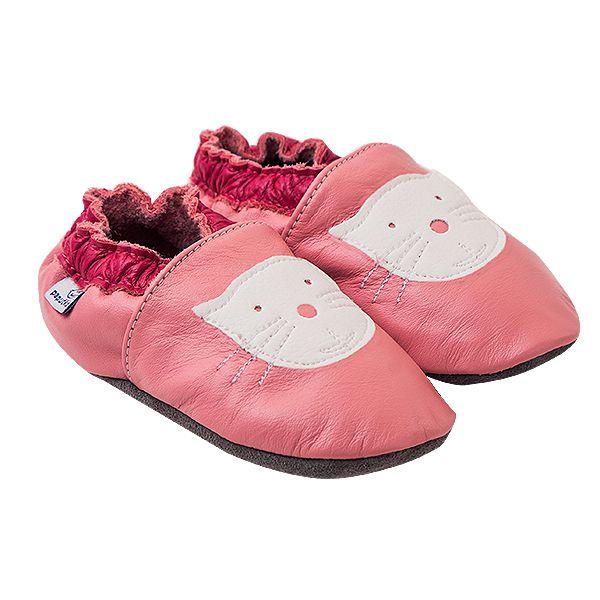 Kožené capáčky Paputki, růžová kočička