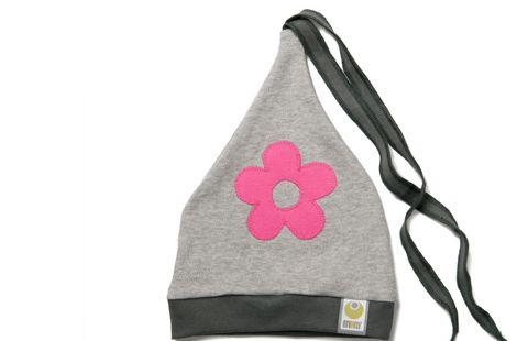 Čepička ByKay Design II, šedá + kytka růžová