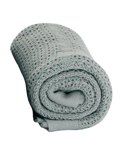 Baby Dan háčkovaná deka šedá bavlněná