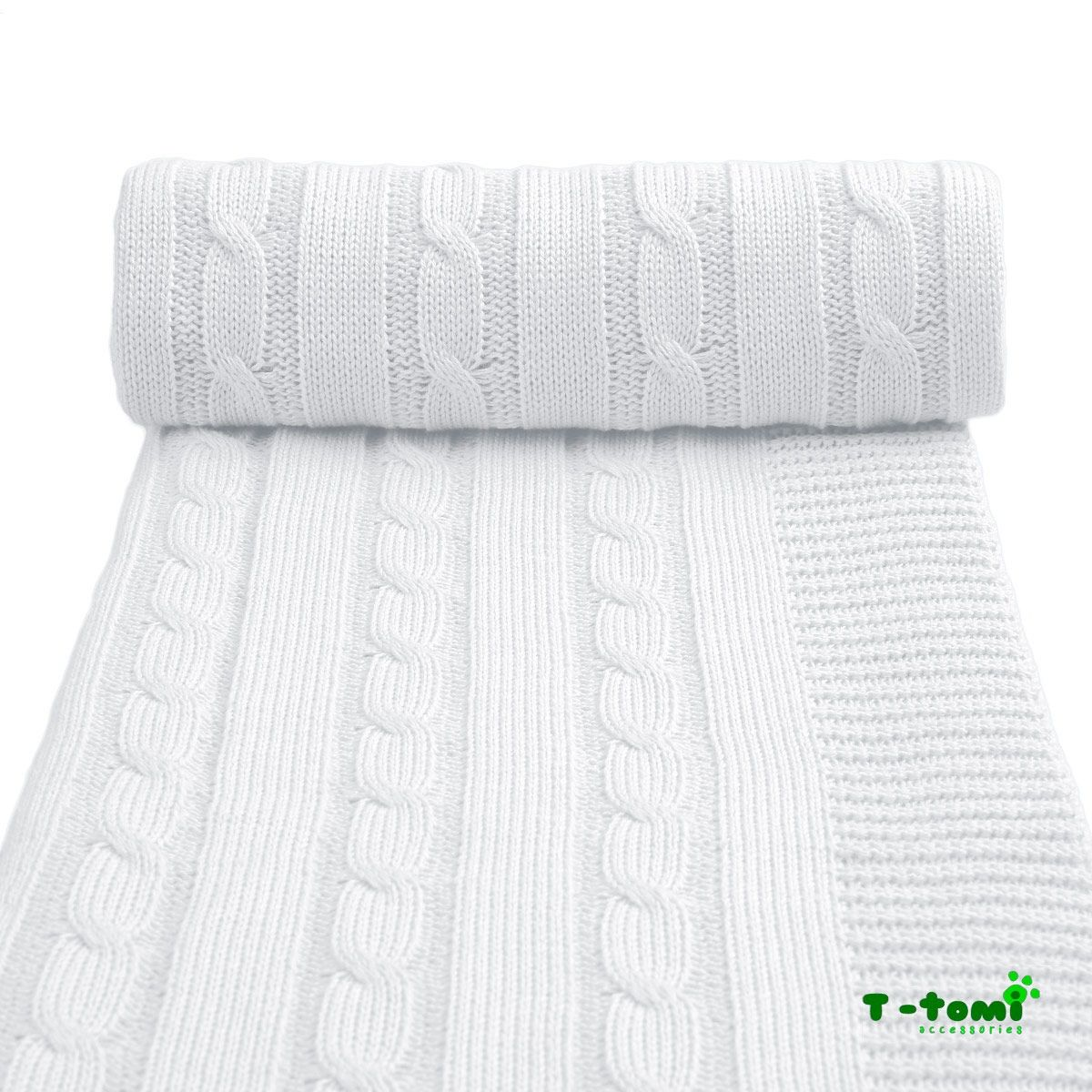 T-Tomi pletená deka, bílá