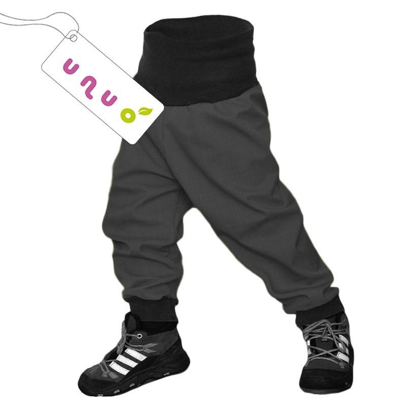 Unuo dětské softshellové kalhoty, šedá-antracit