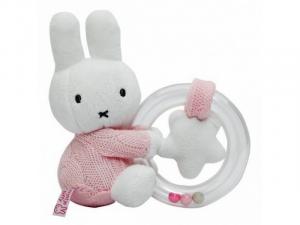 TIAMO Miffy Knitted chrastící plyšový zajíček kroužek, růžový