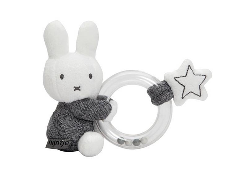 TIAMO Miffy Knitted chrastící plyšový zajíček kroužek, šedý