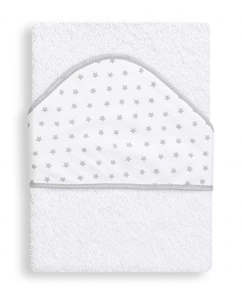INTERBABY Osuška froté HVĚZDA bílo-šedá