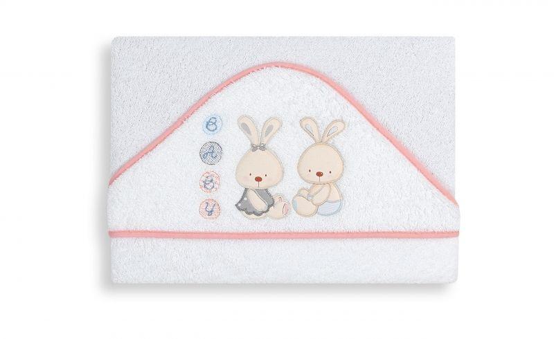 INTERBABY Osuška froté BABY bílo-růžová