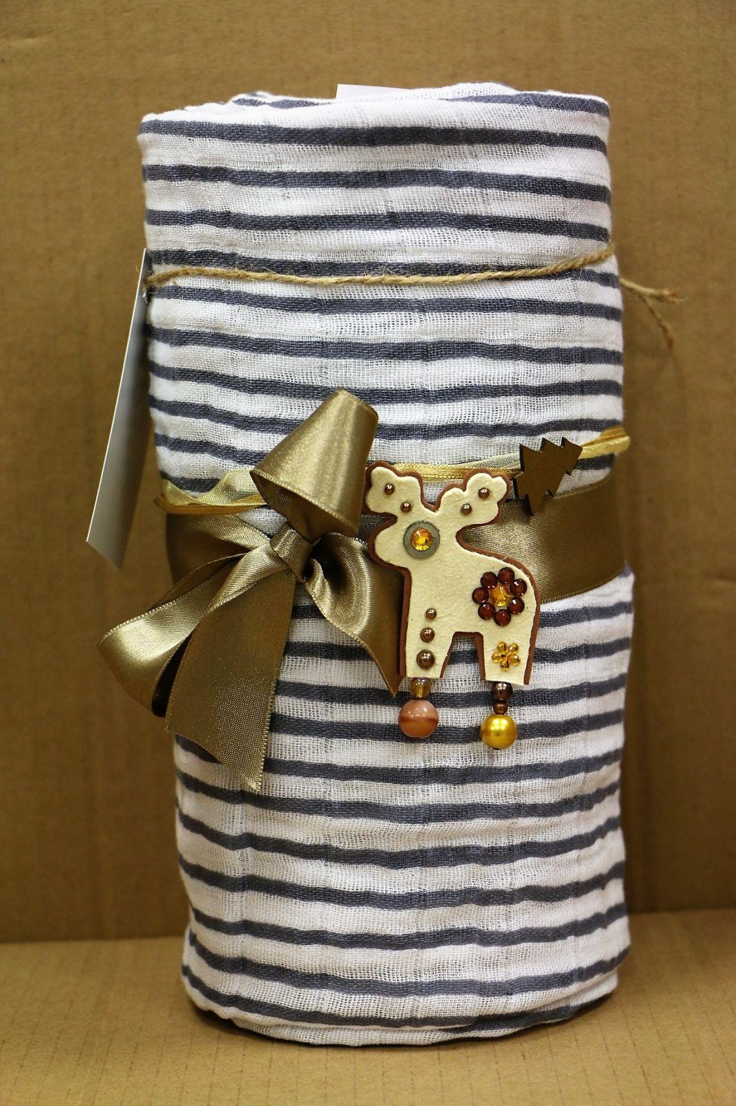 Mušelínový plenkový dort se zavinovačkou, Navy stripes