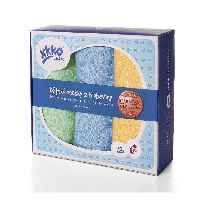 Osušky z biobavlny XKKO Organic 90x100 - Staré časy Pastels For Boys Kikko