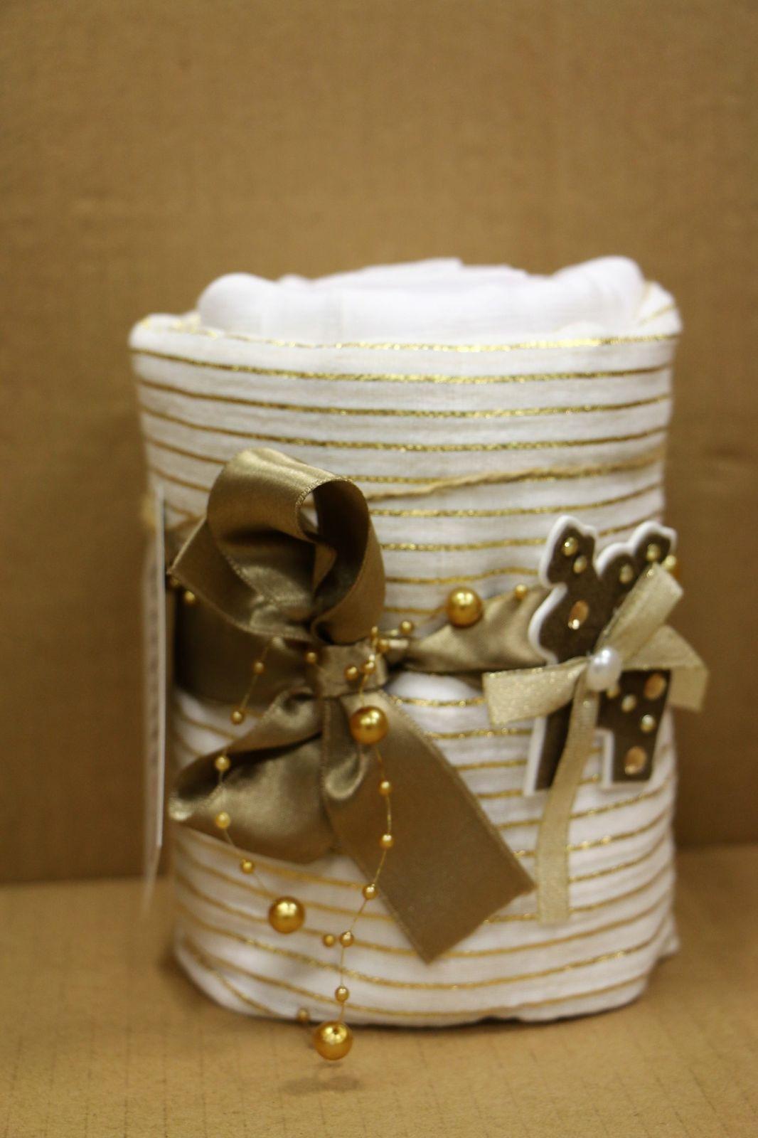 Mušelínový plenkový dortík vánoční zlatý