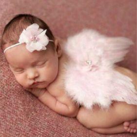 Set andělská křídla s čelenkou, růžový