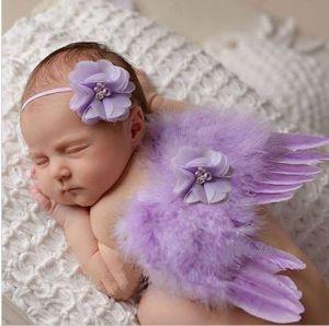 Set andělská křídla s čelenkou, fialkový