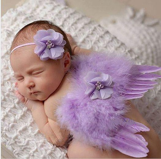 Set na focení andělská křídla + čelenka, fialková