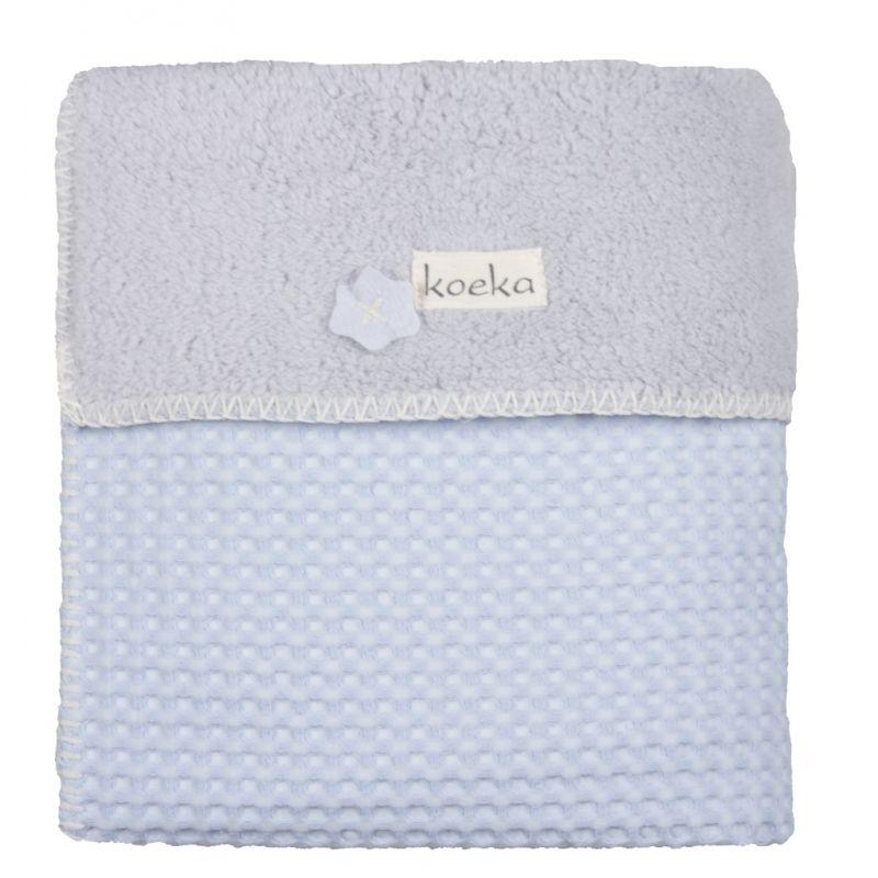 Koeka Deka Oslo 100x75cm, waffle/teddy - baby blue/silver grey