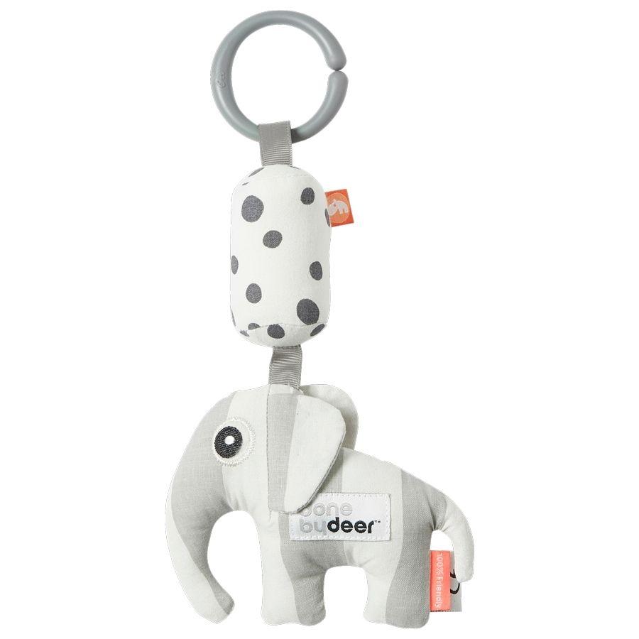 Vezměte sloníka Elpheeho s sebou kamkoliv půjdete. Hračka při pohybu chrastí a pomocí kroužku ji můžete zavěsit na kočárek nebo autosedačku, aby ji mělo miminko pořád ve své blízkosti. Vhodné od naroz
