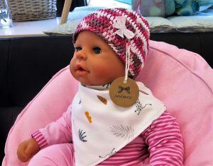 ES Collection háčkovaná čepička bavlna, růžovo-bílá