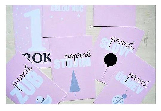 Milníkové kartičky pro holčičku 1týden - 1 rok