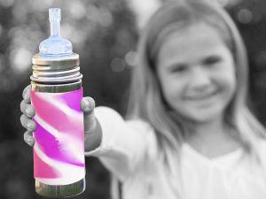 Pura® nerezová láhev s brčkem 325 ml, Růžovo-bílá