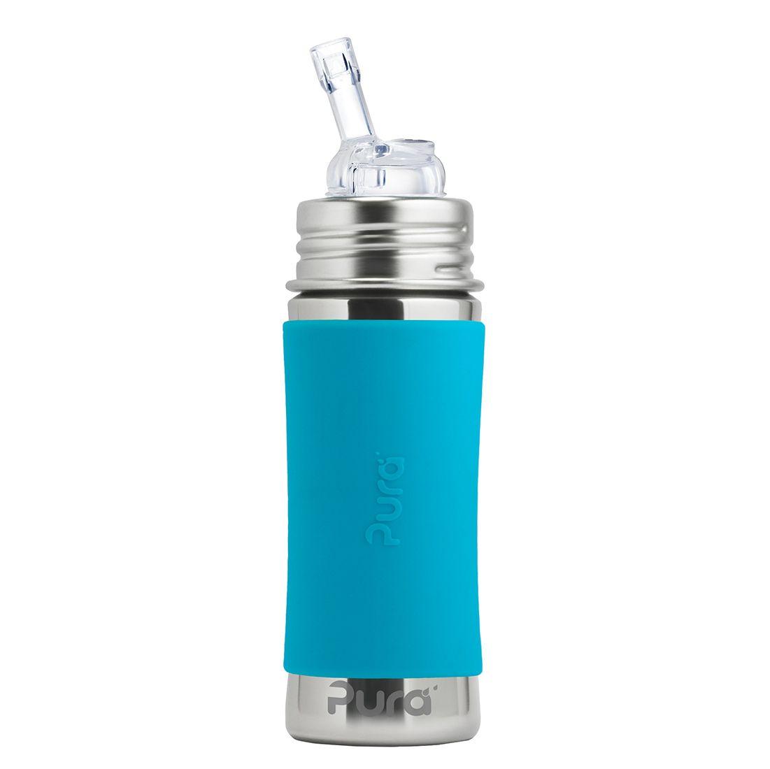 Pura® nerezová láhev s brčkem 325 ml, AQUA