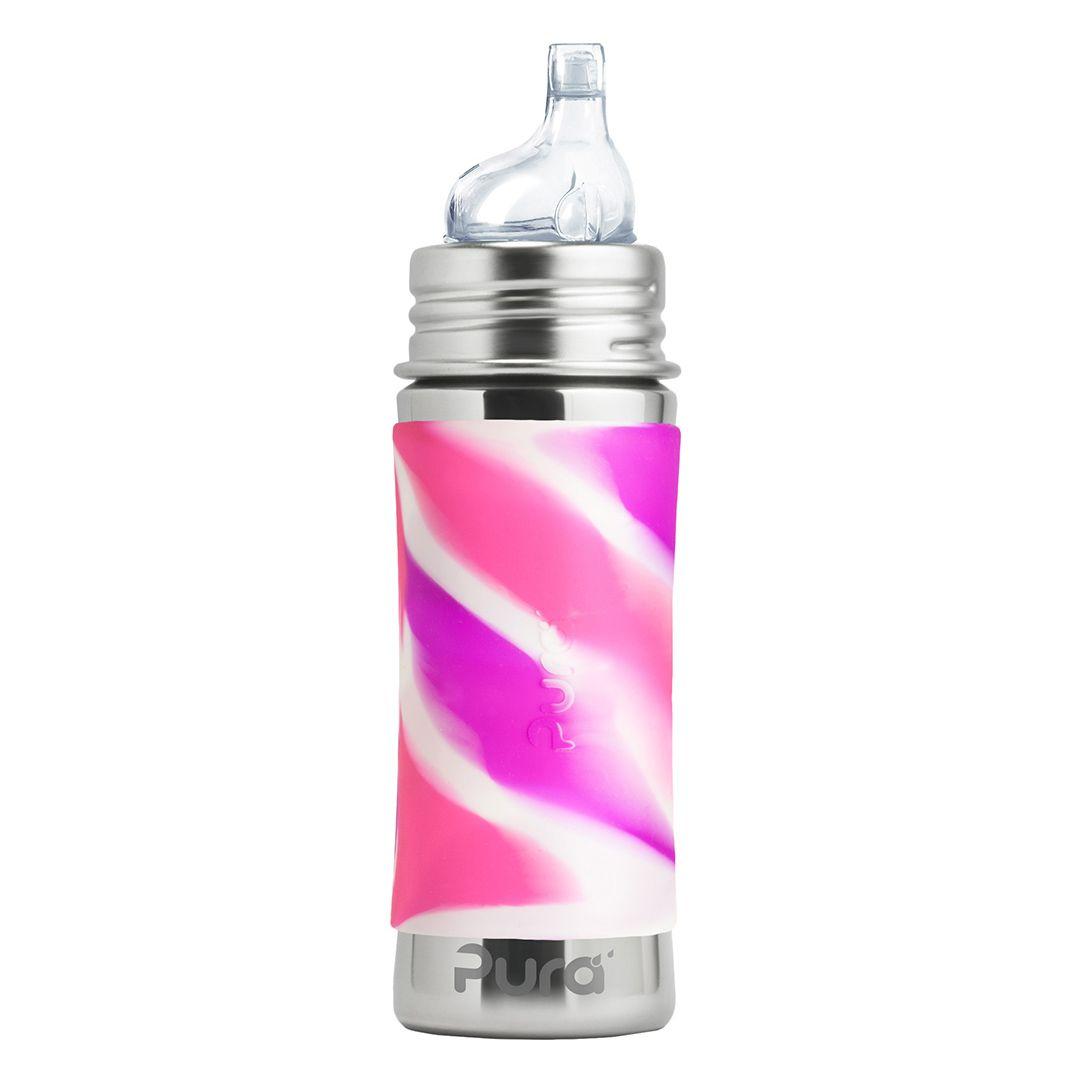 Pura® nerezová láhev s pítkem 325 ml, Růžovo-Bílá