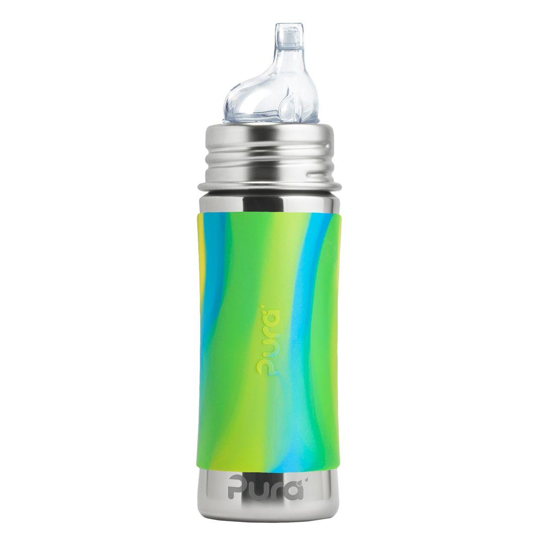 Pura® nerezová láhev s pítkem 325 ml, Zelená-Aqua