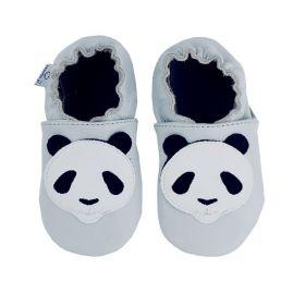 Paputki kožené capáčky, šedá panda