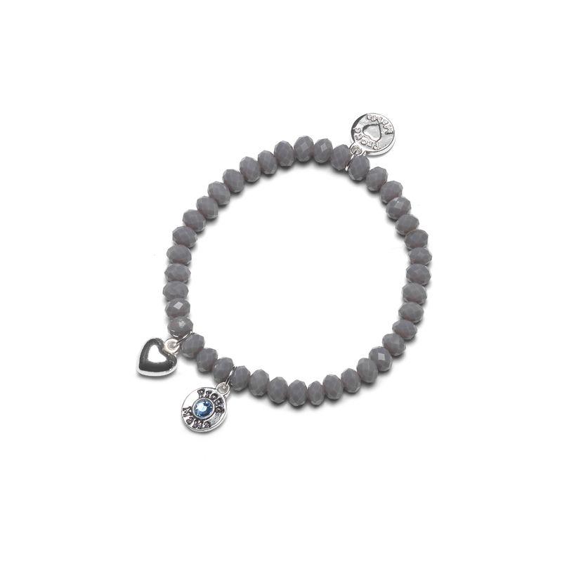 náramek Charm šedý s modrým kamínkem