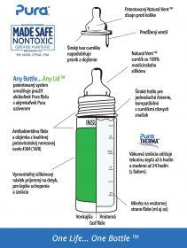 Pura® kojenecká TERMO láhev 260ml - zelená-aqua