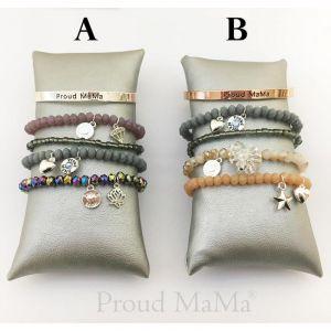 Proud MaMa náramek Charm stříbrný Beads