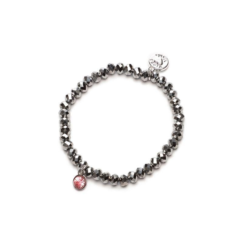 Proud MaMa náramek Charm stříbrný s růžovým kamínkem