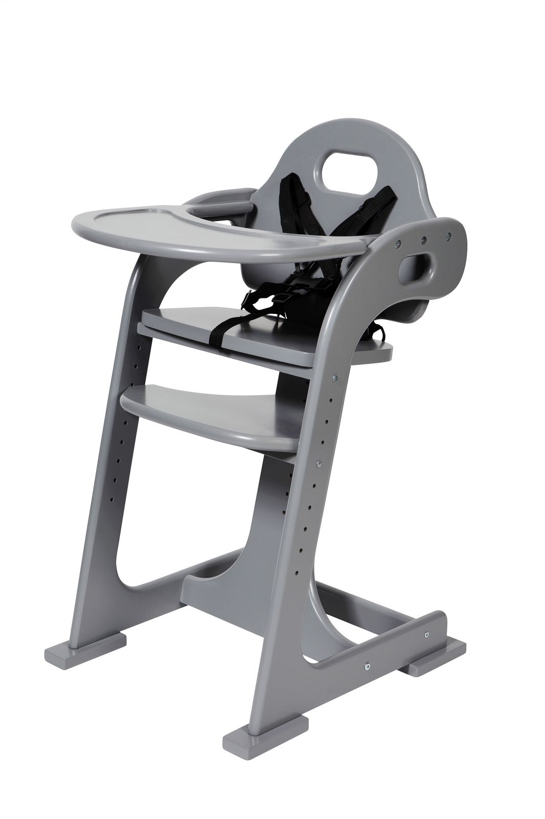 TIAMO dětská dřevěná jídelní židlička, šedá