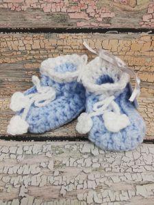 Pletené bačkůrky modro-bílé