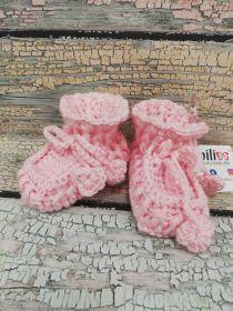 Pletené bačkůrky růžové