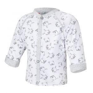 Little ANGEL Kabátek podšitý Outlast® - bílá šedá zvířátka/pruh