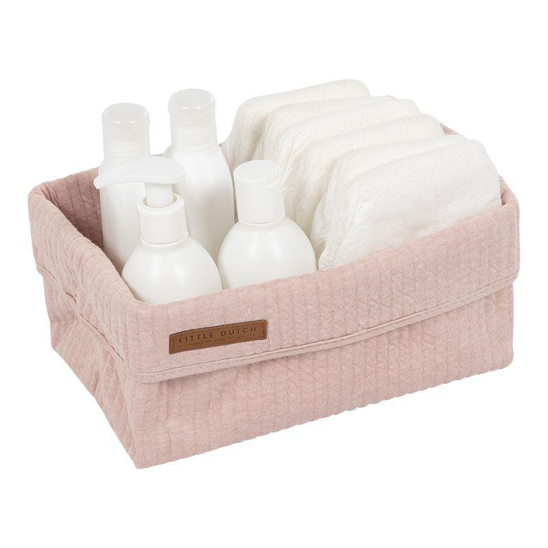praktický textilní košík Little Dutch nejen na kojenecké potřeby při přebalování na komodě nebo po koupání je vždy potřeba mnoha pomůcek pro péči o dítě (nap. hřeben a kartáč, manikúra, krém, mléko ne