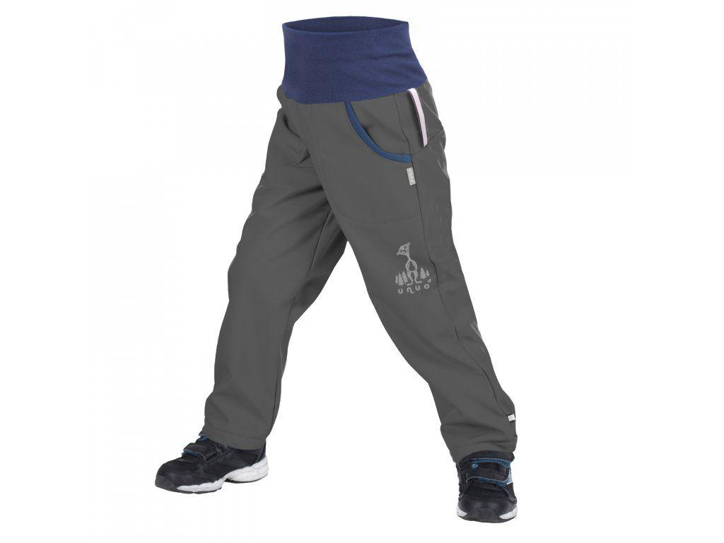 Unuo dětské softshellové kalhoty BASIC, šedé-antracit