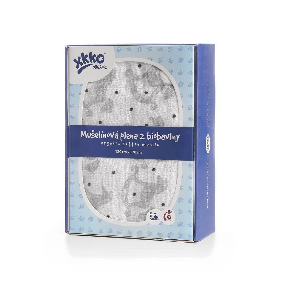 Biobavlněná plena XKKO Organic 120x120 - Rocking Horses Silver