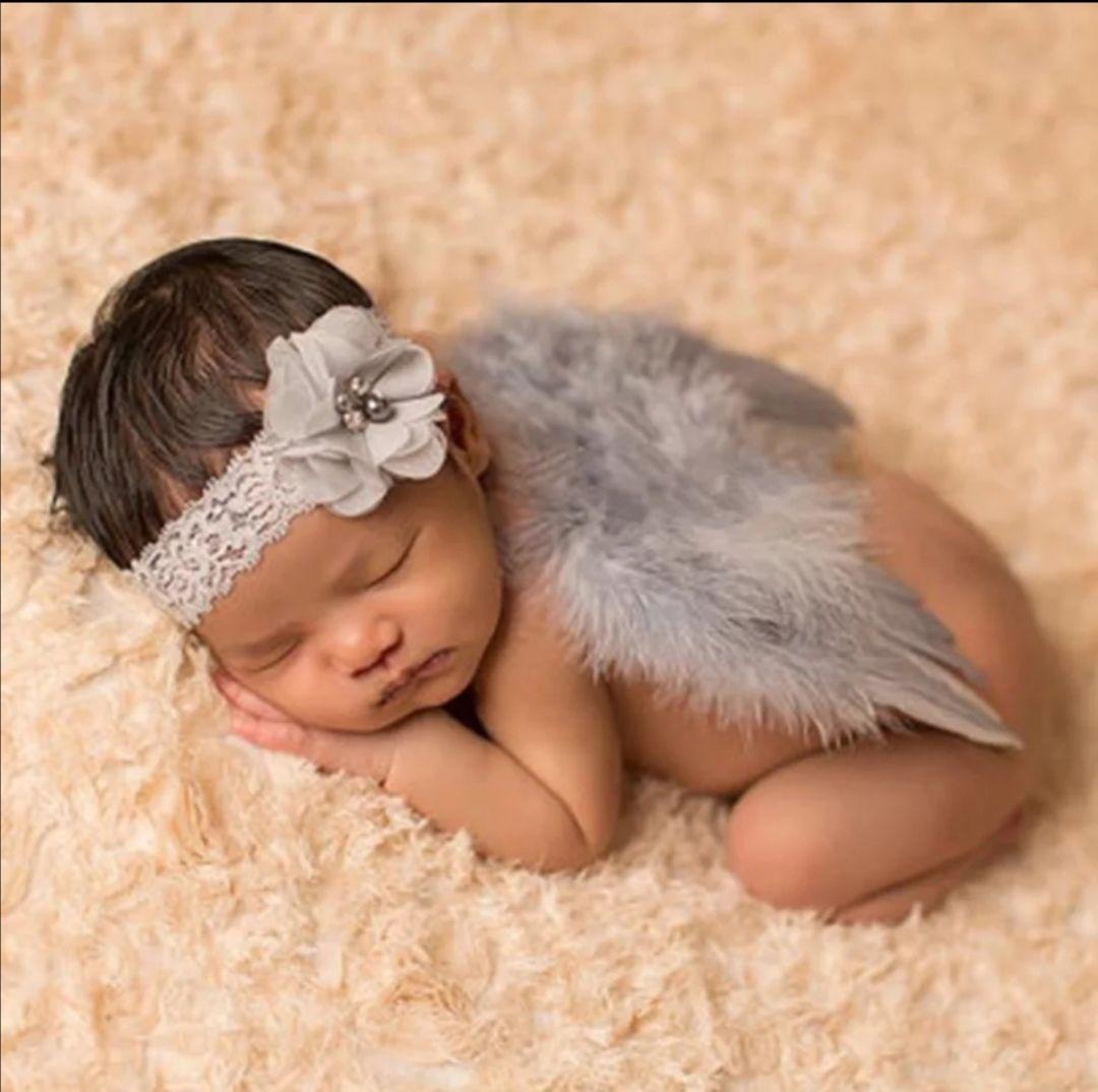 Andělská křídla s čelenkou z peří set na focení, Siver