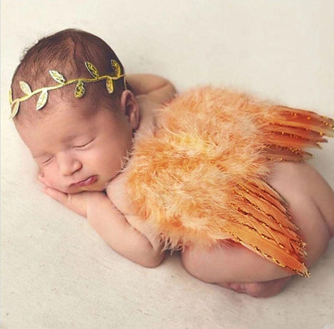 Andělská křídla s čelenkou z peří set na focení, Gold
