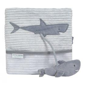 LITTLE DUTCH Ocean Plyšová knížka velká žralok blue TIAMO-LITTLE DUTCH