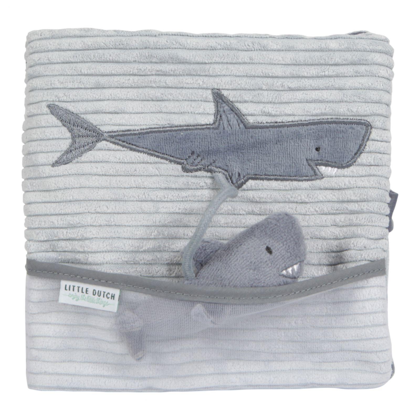 LITTLE DUTCH Ocean Plyšová knížka velká žralok blue