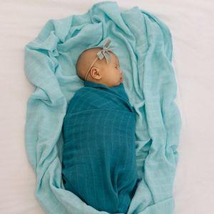 Tommy Lise Bavlněná mušelínová plena Dreamy Blue 120x120cm