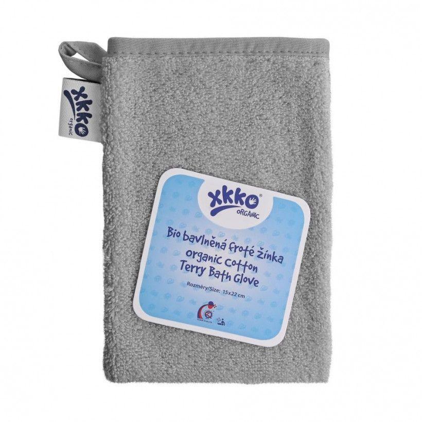 BIO bavlněná froté žínka XKKO Organic - Silver