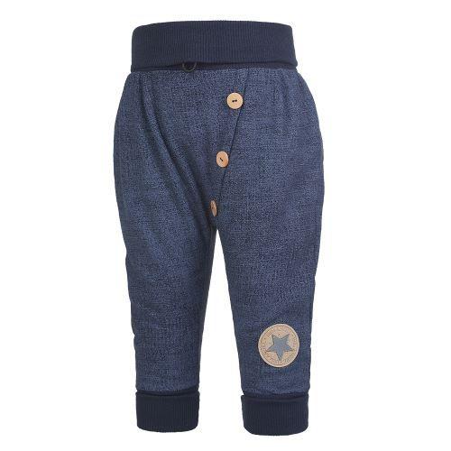 Little ANGEL Tepláky harémky knoflíky - tm.modrá jeans