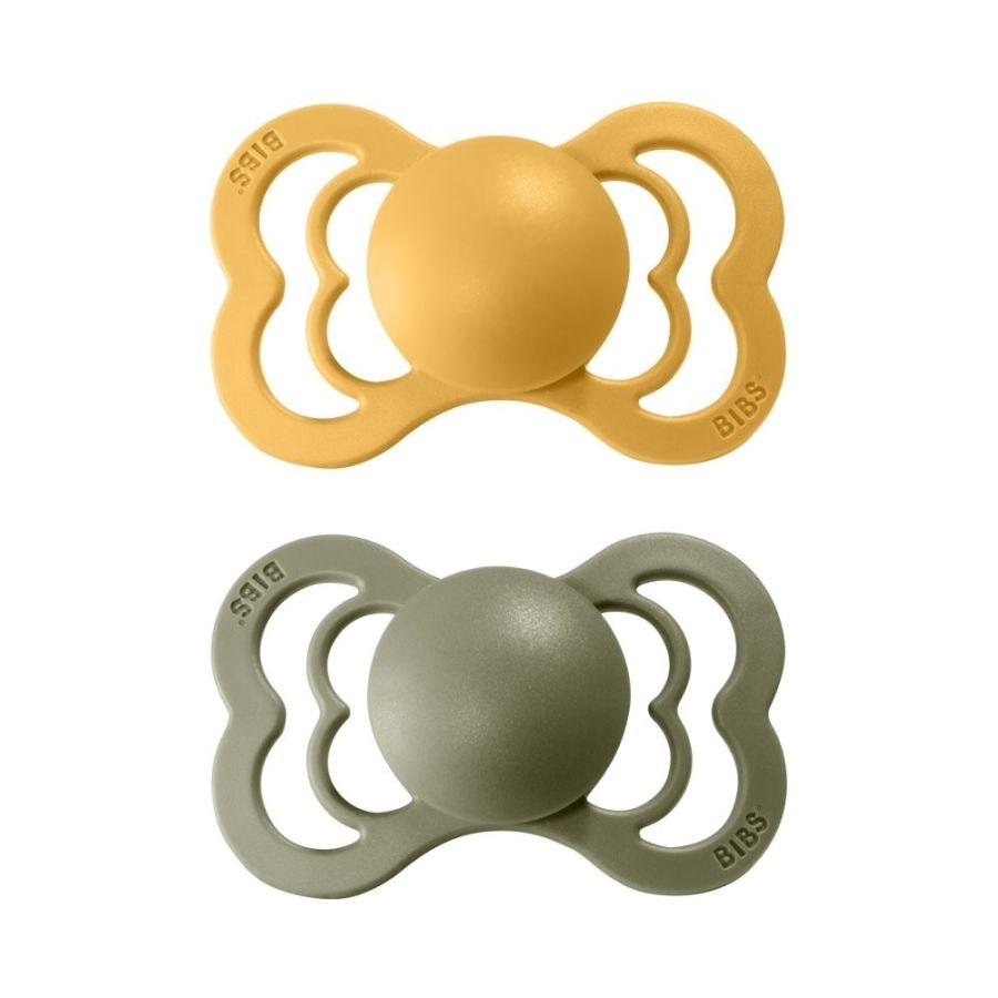 BIBS SUPREME dudlíky z přírodního kaučuku 2ks vel.2, Honey Bee/Olive