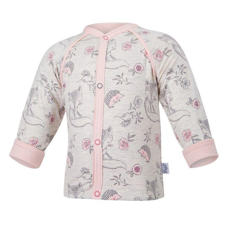 Little Angel Kabátek podšitý ANIMALS Outlast® - natur melír liška/sv.pudrová
