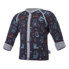 Little Angel Kabátek podšitý ANIMALS Outlast® - tm.modrá/šedý melír