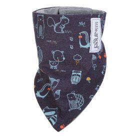 Little Angel Šátek na krk podšitý ANIMALS Outlast® - tm.modrá/šedý melír