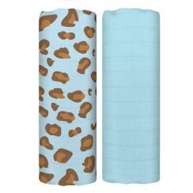 Tommy Lise mušelínové pleny 70 x 70cm Blue Leopard set 2ks