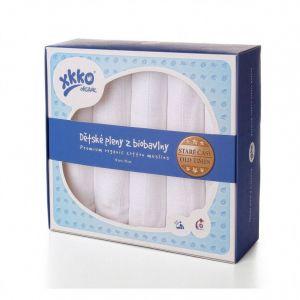 Biobavlněné dětské pleny Kikko Staré časy 70x70 - Bílé, 5ks