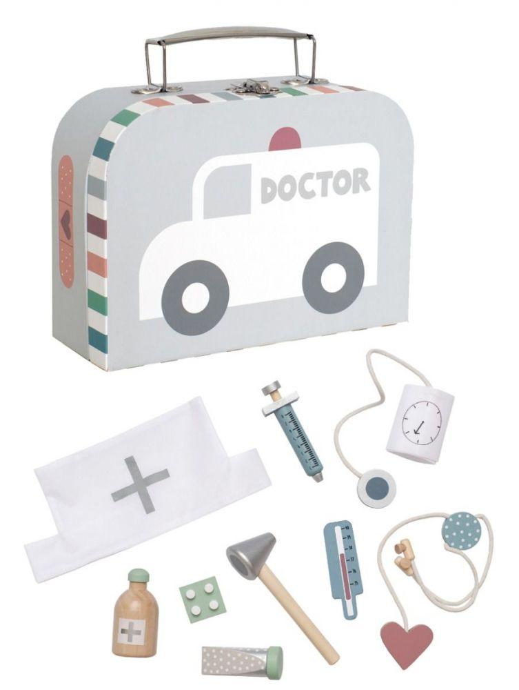 JaBaDaBaDo Dřevěný lékařský kufřík stříbrný